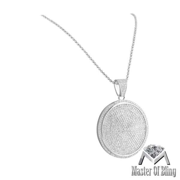 White Finsih 925 Silver Medallion Round Lab Diamond Pendant Necklace