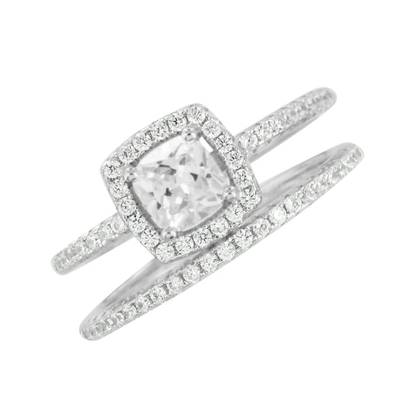Engagement Ladies Ring Band Set 925 Silver Solitaire Simulated Diamonds Wedding