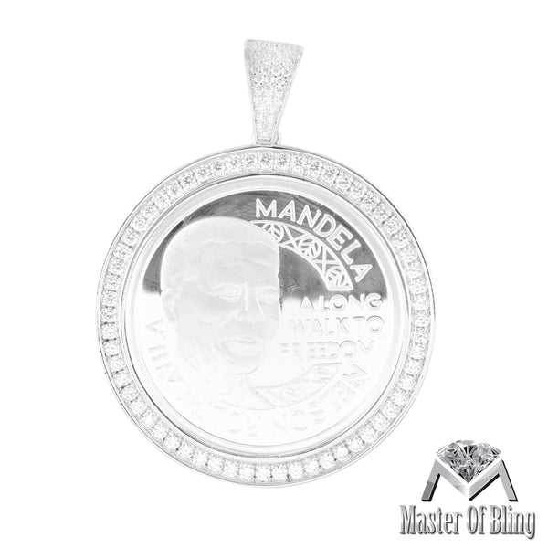 Nelson Mandela 925 Silver Lab Diamonds White Gold Tone Pendant