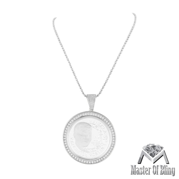White Gold Tone Nelson Mandela Sterling Silver Pendant Free Chain