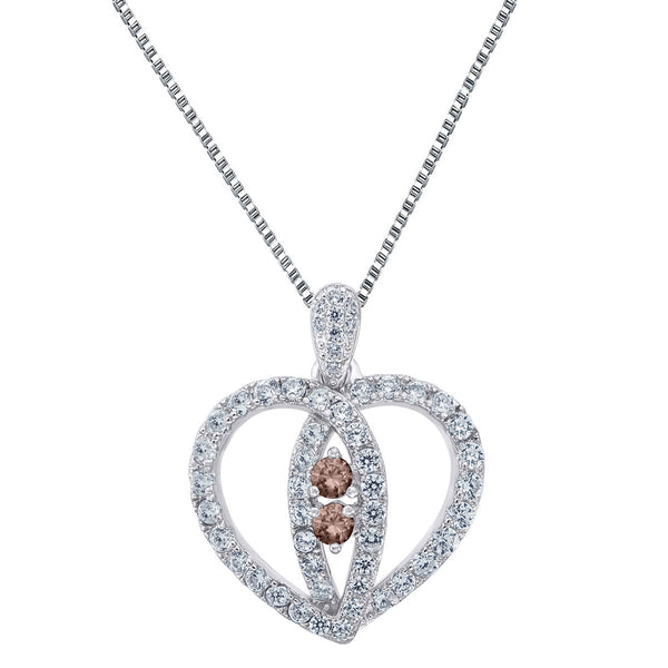 Brown Cubic Zirconia CZ Sterling Silver Heart Shape Pendant Forever Us 24