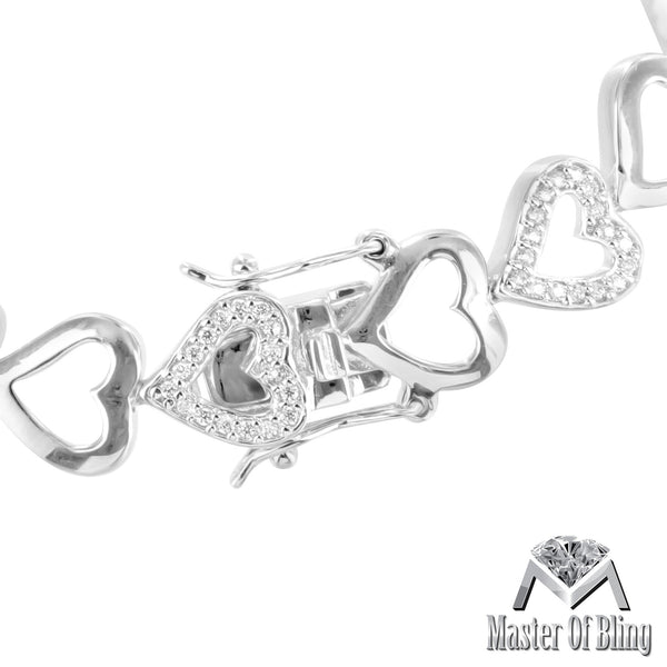 Sterling Silver Heart Links Lab Diamond White Gold Tone Female Bracelet