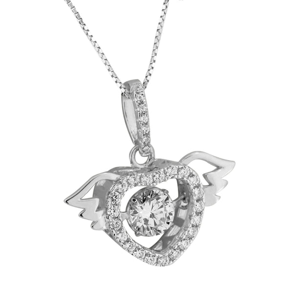 Solitaire CZ Pendant Heart With Wings Charm Necklace 925 Silver Cubic Zircon