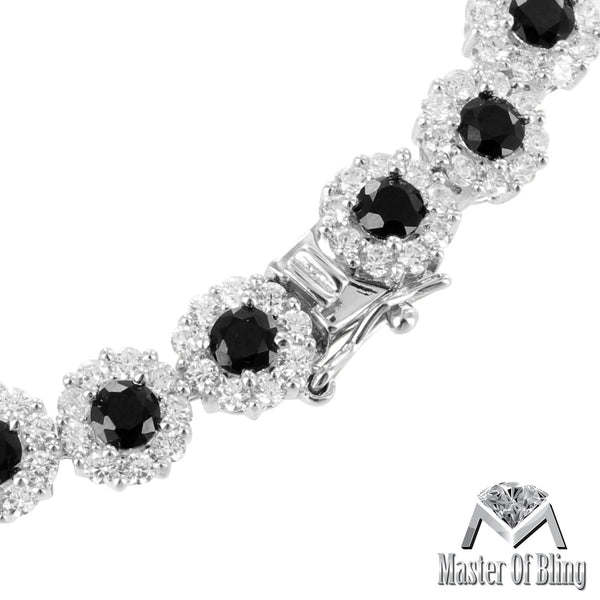 White Gold Finish Black Lab Diamond Solitaire 925 Silver Female Bracelet