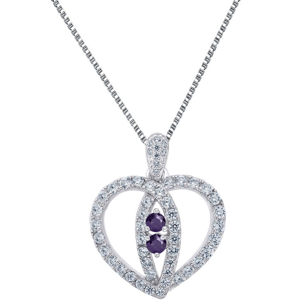 Forever Us Heart Pendant 925 Silver Purple 2 Solitaire Simulated Diamonds Chain