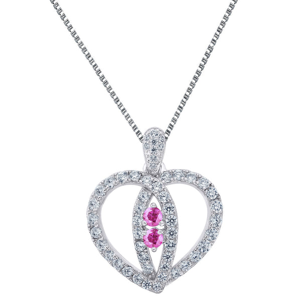 Ladies Heart Pendant 2 Solitaire Pink Cubic Zironia Sterling Silver 24