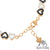 Black White Lab Diamond Heart Rose Gold Tone 925 Silver Womens Bracelet