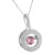 Women Round Halo Pendant Pink Simulated Diamond Charm Sterling Silver Free Chain