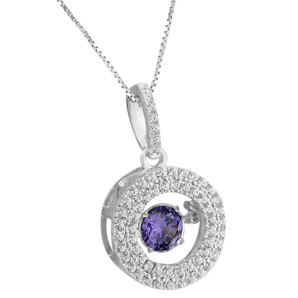 Purple Solitaire Pendant Simulated Diamonds Stones Free Chain Sterling Silver