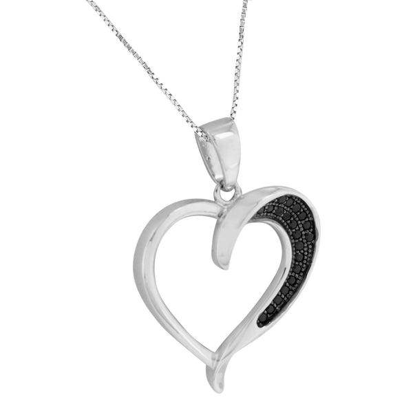 Womens Heart Design Pendant Sterling Silver Black Simulated Diamonds Free Chain