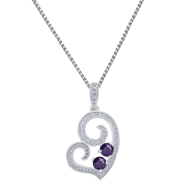 Womens Forever Us Heart Pendant Purple 2 Solitaire CZ Sterling Silver 1.2