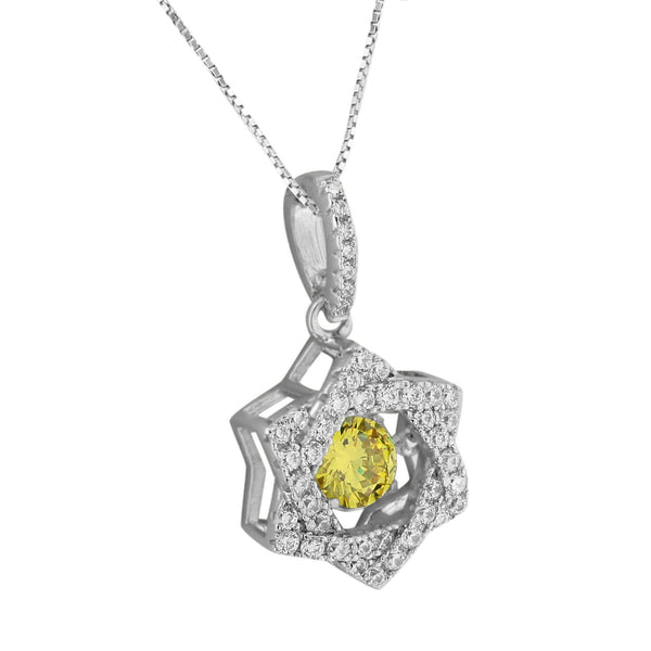 Star Of David Pendant Canary Solitaire Simulated Diamonds Free Chain 925 Silver