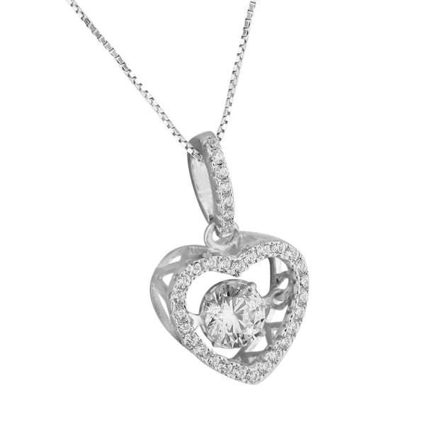Solitaire Simulated Diamond Pendant Sterling Silver Free Chain Heart Shape Charm