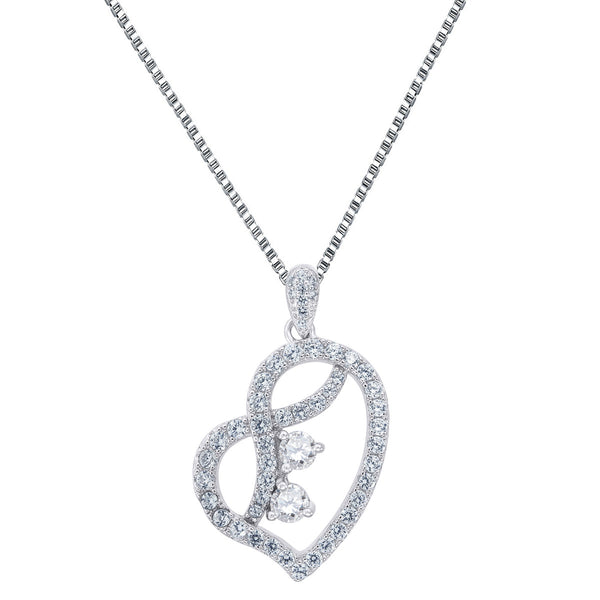 Heart Shape Pendant Forever Us Clear 2 Solitaire CZ Sterling Silver 0.25ct Chain