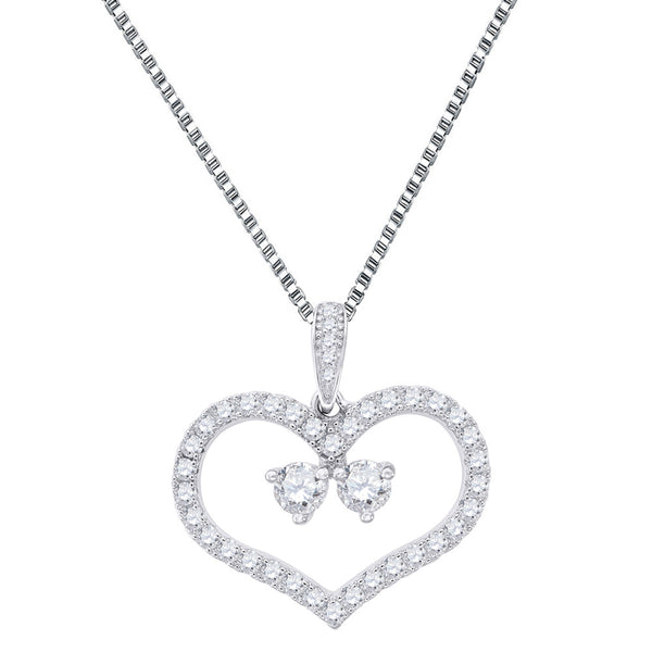 Forever Us Heart Pendant 0.25 Carat CZ 2 Solitaires Sterling Silver Ladies Chain