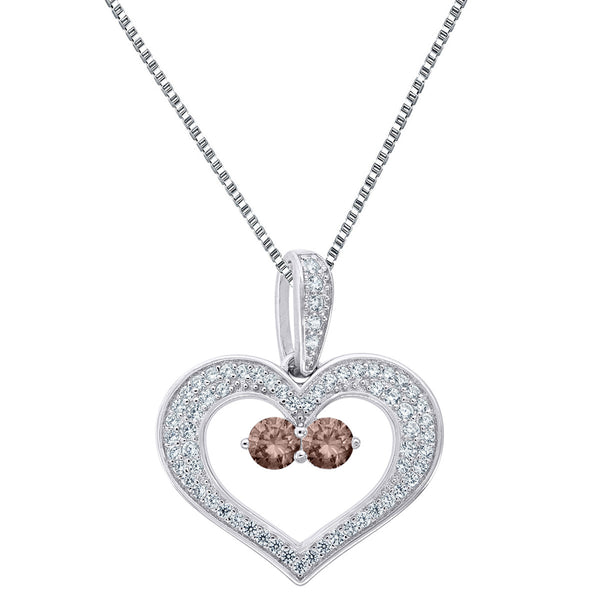 Forever Us Ladies Heart Pendant 2 Solitaire Brown Stone 925 Silver 18