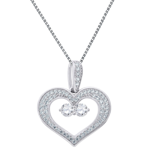 Forever Us Heart Pendant Women 2 Solitaire Clear Stone 18