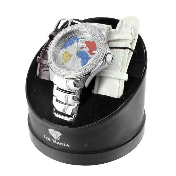White Gold Finish World Map Multi Color Lab Diamond Ice Mania Steel Back Watch