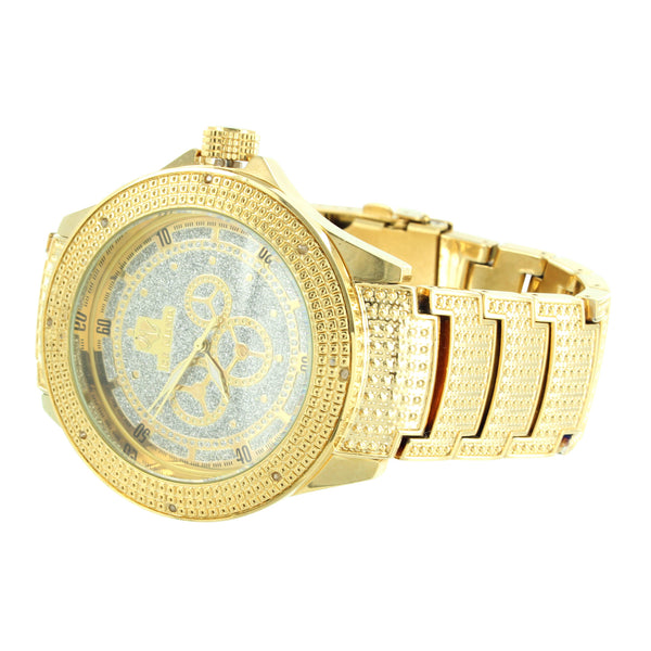 Mens Party Wear Elegant Ice Mania Real Diamond Bezel Steel Back Watch