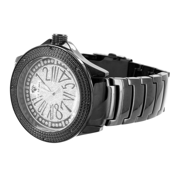 Designer Black Gold Finish White Iced Dial Ice Mania Jojino Real Diamond Watch