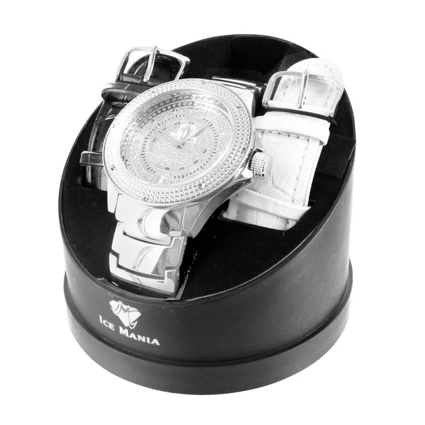 Ice Mania White Gold Finish Diamond Watch With 2 Free Extra Straps