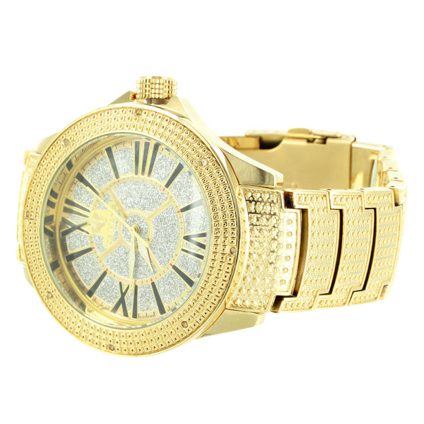 Roman Numeral Dial 14k Gold Finish Mens Genuine Diamond Ice Mania Watch