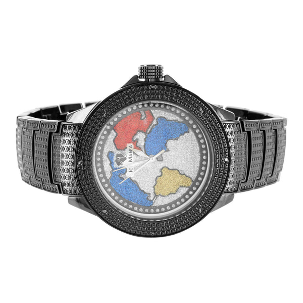 Crisp Black Gold Finish World Map Genuine Diamond Bezel Mens Ice Mania Watch