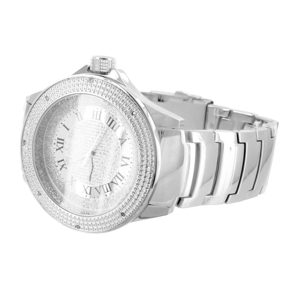 Custom Design Mens Ice Mania Roman Numeral Diamond Watch