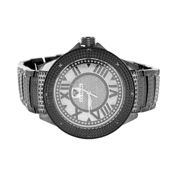 Ice Mania Black Gold Finish Diamond Bezel Mens Watch