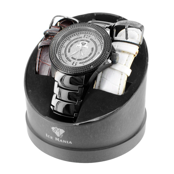 Ice Mania Real Diamond Iced Dial Mens Watch + 2 Free Bands