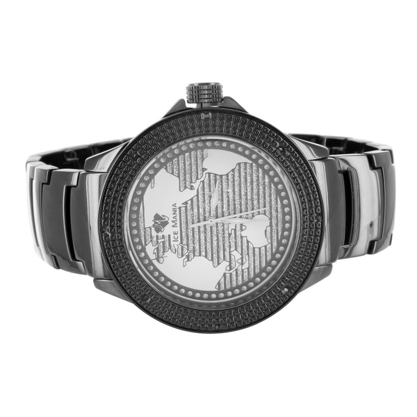 Globe World Map Design Dial Diamond Bezel Mens Ice Mania Black Watch