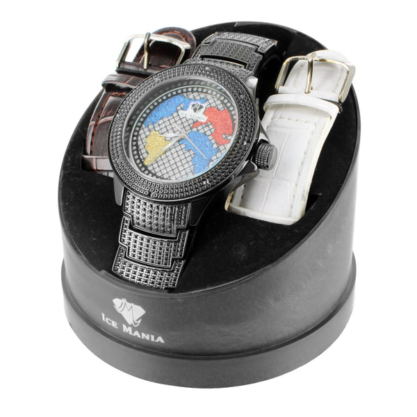 Ice Mania World Map Multi Tone Dial Diamond Bezel Mens Watch