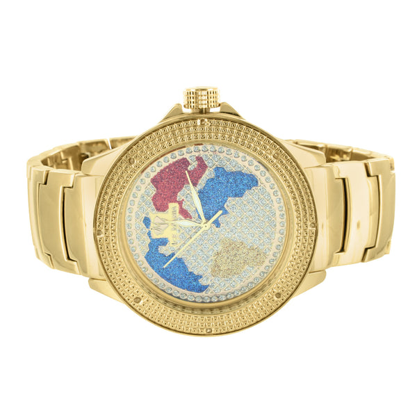 Real Diamond Bezel World Map Globe Face Metal Band Gold Finish Ice Mania Watch
