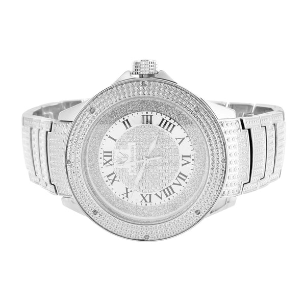 Frosty White Gold Finish Ice Mania Ice Time Joe Rodeo Steel Back Diamond Watch
