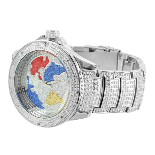 Genuine Diamond World Map Dial Multi Color Ice Time White Finish Watch