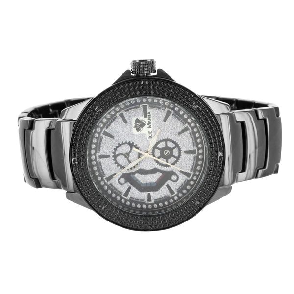 White Dial Genuine Diamond Bezel Ice Mania Black Watch