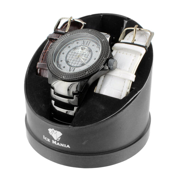 Roman Numeral Black White Finish Face Real Diamond Ice Mania Watch