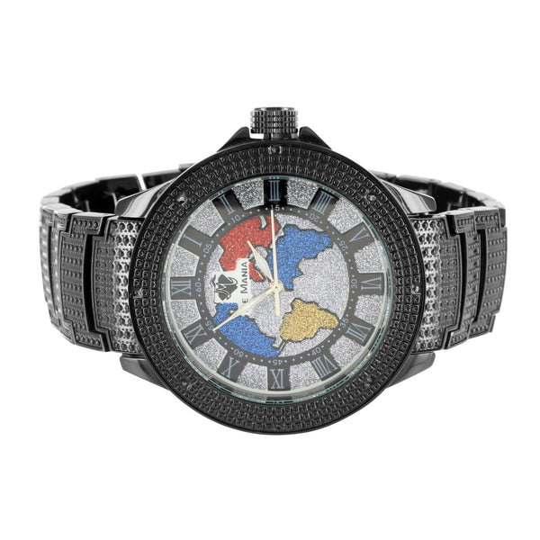World Map Globe Style Multi Color Dial Black Gold Finish Ice Mania Diamond Watch