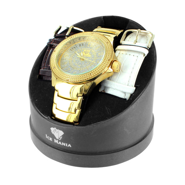 14k Gold Finish Ice Mania Mens Diamond Bezel Elegant Casual Wear Watch