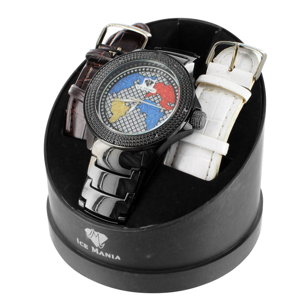 Globe Face Multi Color Black Finish Ice Mania Mens Diamond Watch