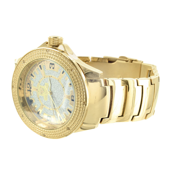 2 Tone Dial Genuine Diamond Bezel Sleek Gold Finish Ice Mania Watch