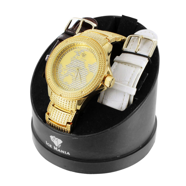 Ice Mania Quartz Movement Real Diamond Mens World Map Watch