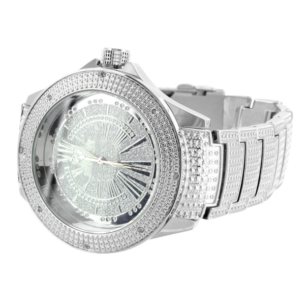 Mens Genuine Diamond Bezel Ice Mania Vintage White Analog Watch