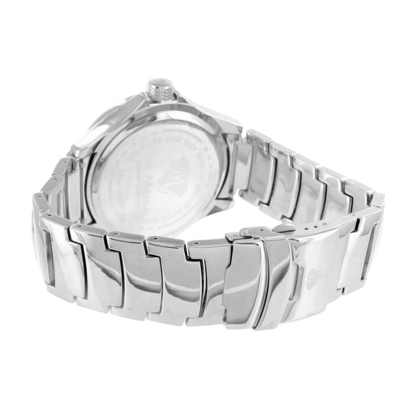 Roman Numeral 14k White Gold Finish Real Diamond Watch With Metal Band