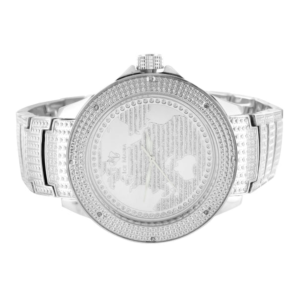 Mens Ice Mania World Map 14k White Gold Finish Real Diamond Watch