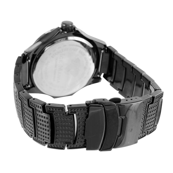 Black & White Diamond Bezel Watch With Roman Numeral