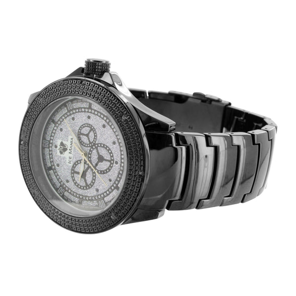 Mens Diamond Bezel Watch Classic Black Metal Band + Free Leather Straps