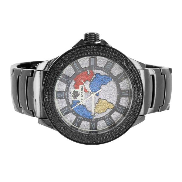 Roman Numeral World Map Dial Mens Wrist Watch Real Diamond Watch