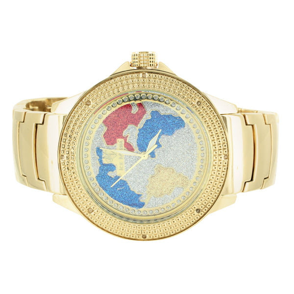 World Map Globe Dial Multi Color Mens Real Diamond Ice Mania Watch