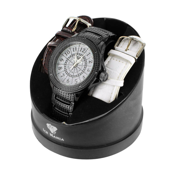 Exquisite Black Gold Finish Ice Mania Real Diamond Watch